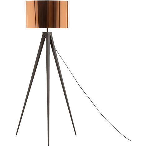 Modern Classic Tripod Floor Lamp Metal Polycotton Drum Shade Copper Stiletto