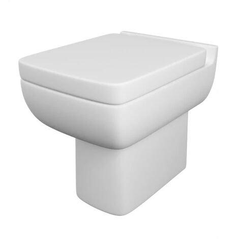 Modern Cloakroom Back to Wall WC Square Toilet Pan and Soft close Seat