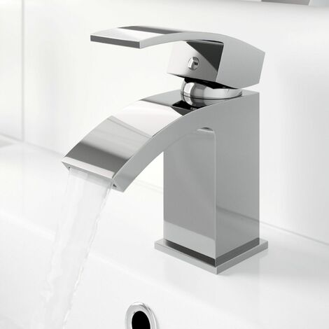 Modern Cloakroom Mini Mono Basin Sink Mixer Tap Curved Spout Lever Handle Chrome