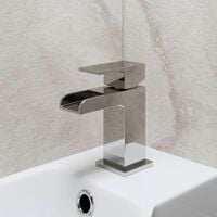 Modern Cloakroom Mono Basin Sink Mixer Tap Brass Waterfall Spout Square Chrome