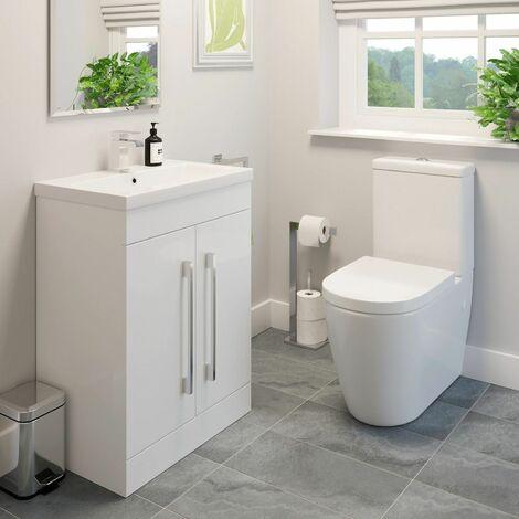 Modern Close Coupled WC Bathroom Suite Toilet Set Basin Sink Vanity Unit White