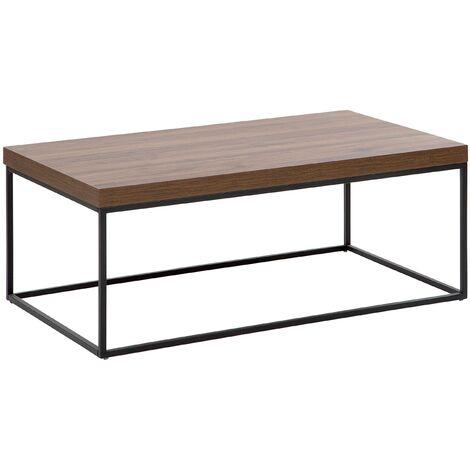 Modern Coffee Table Dark Wood Veneer Top Black Metal Base Industrial Delano