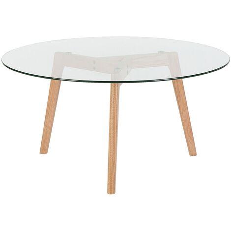 Modern Coffee Table Glass Oval Tabletop Solid Wood Legs Tripod Minnesota
