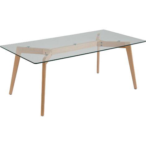 Modern Coffee Table Glass Tabletop Solid Wood Slanted Legs Living Room Hudson
