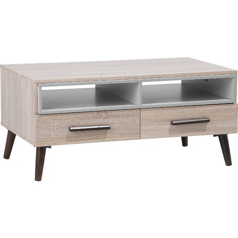 Modern Coffee Table Light Wood Solid Wood Legs Shelves Drawers Storage Alloa