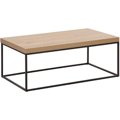 Modern Coffee Table Light Wood Veneer Top Black Metal Base Industrial Delano