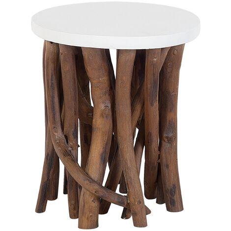 Modern Coffee Table Tree Branch Base Round White Top Living Room Houma