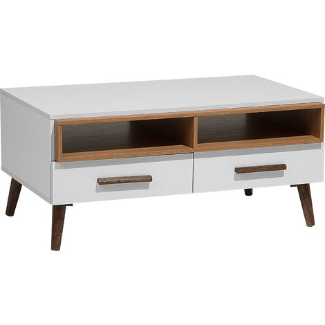 Modern Coffee Table White Solid Wood Legs Shelves Drawers Storage Alloa