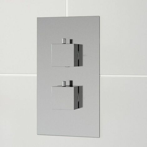 Modern Concealed Shower Valve Thermostatic Square Controls Chrome Twin Outlet