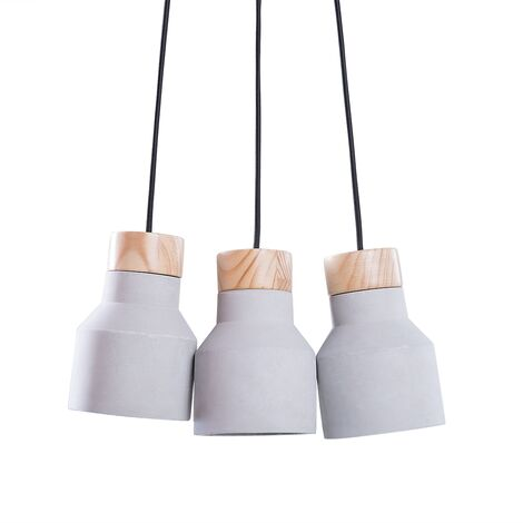 """main image of """"Modern Contemporary Grey and Brown Concrete Pendant Ceiling Lamp 3 Lights Baht"""""""