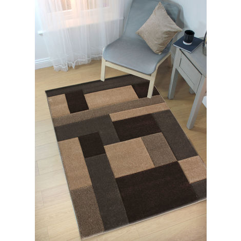 Modern Contemporary Hand Carved Cosmos Beige/Brown Durable Thick Soft Rug