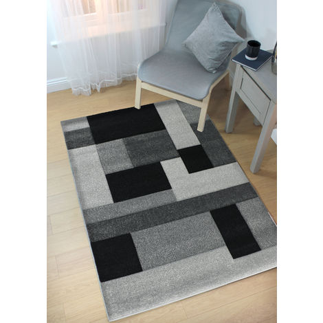 Modern Contemporary Hand Carved Cosmos Black/Grey Durable Thick Soft Rug