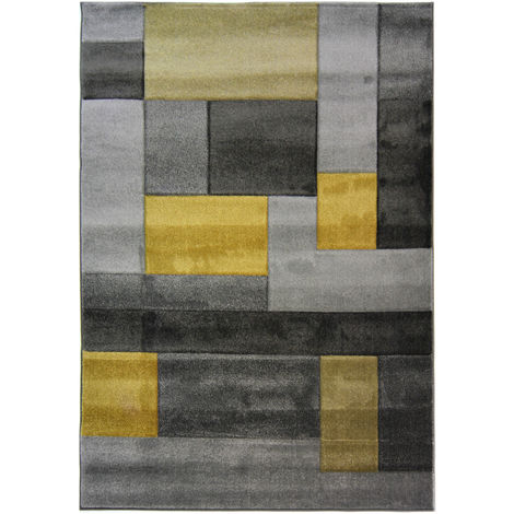 Modern Contemporary Hand Carved Cosmos Durable Thick Soft Rug in 80x150 cm (2'6''x5'0'') Ochre