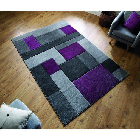 Modern Contemporary Hand Carved Cosmos Purple/Grey Durable Thick Soft Rug