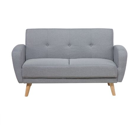 Modern Convertible Sofa Bed 2 Seater Grey Fabric Tufted Wood Legs Retro Florli