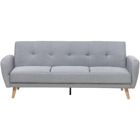 Modern Convertible Sofa Bed 3 Seater Grey Fabric Tufted Wood Legs Retro Florli