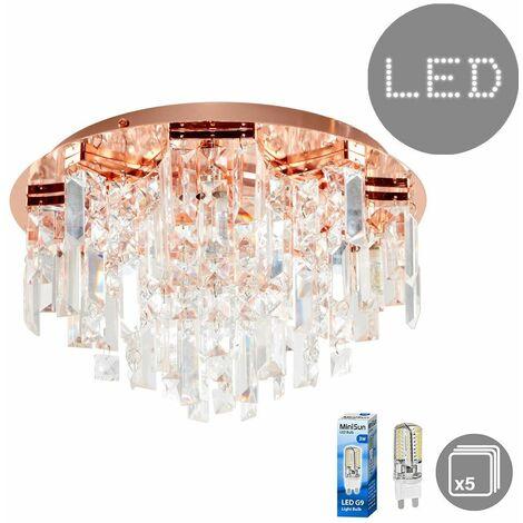 Copper 5 Way Lead Crystal Jewel Diamond Droplet Flush Ceiling Chandelier + 3W G9 LED Light Bulbs - Warm White