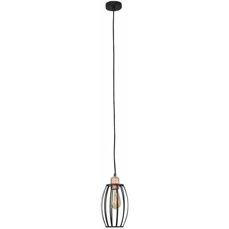 Modern Copper Ceiling Rose & Flex Lampholder with a Black Metal Wire Oval Cage Light Shade