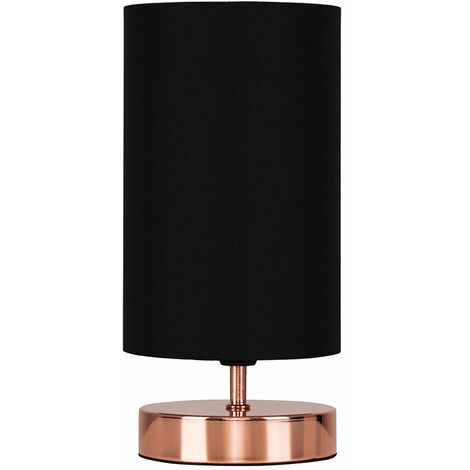 Modern Copper Touch Dimmer Bedside Table Lamp with Black Cylinder Light Shade