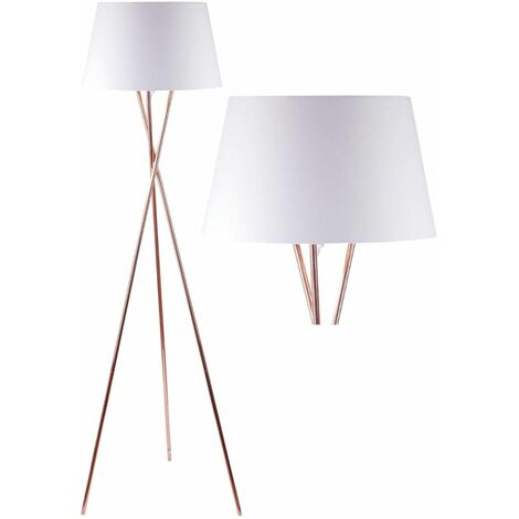 Modern Copper Tripod Floor Lamp Standard Light with Grey White or Black Shade