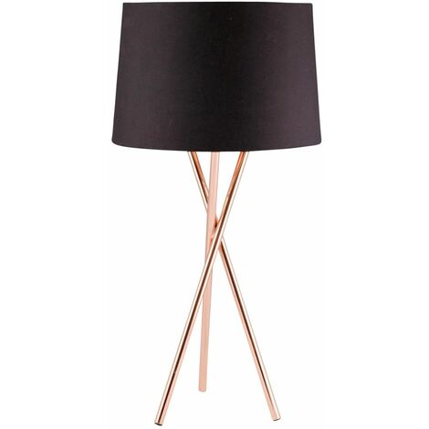 Modern Copper Tripod Table Lamp Bedside Light with Grey White or Black Shade