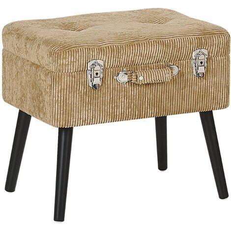 "main image of ""Modern Corduroy Storage Stool Beige Suitcase Chest Buttoned Mallard"""