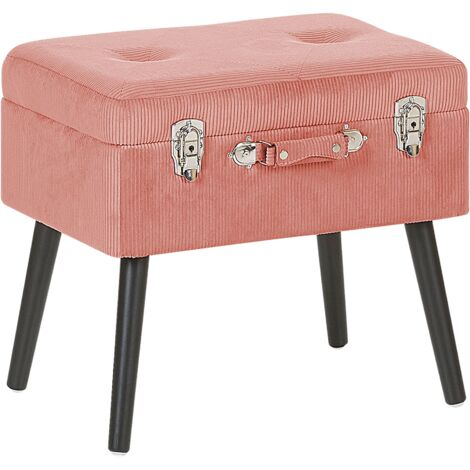 Modern Corduroy Storage Stool Pink Suitcase Chest Buttoned Mallard