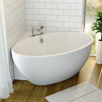 Modern Corner Freestanding Bath Tub Acrylic 1510mm Built-In Waste