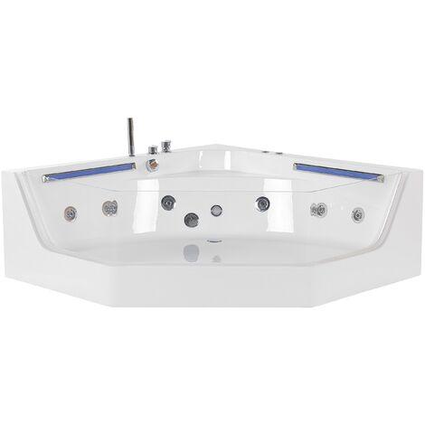 "main image of ""Modern Corner Hot Tub SPA Bath White Acrylic Hydro Massage Jets Caceres"""