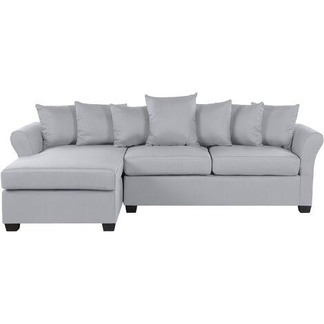 Modern Corner Sofa Light Grey Fabric Cushion Seat Back Black Legs Vikna