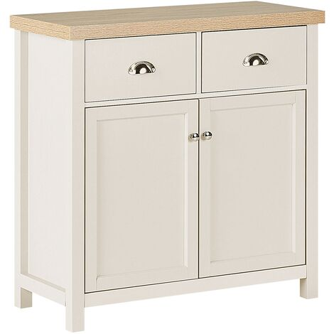 Modern Cottage Style Sideboard 2 Doors 2 Drawers Light Wood White Clio