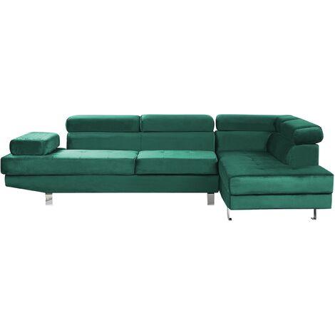 Modern Couch Upholstered Corner 5 Seater Sofa Velvet Green Norrea