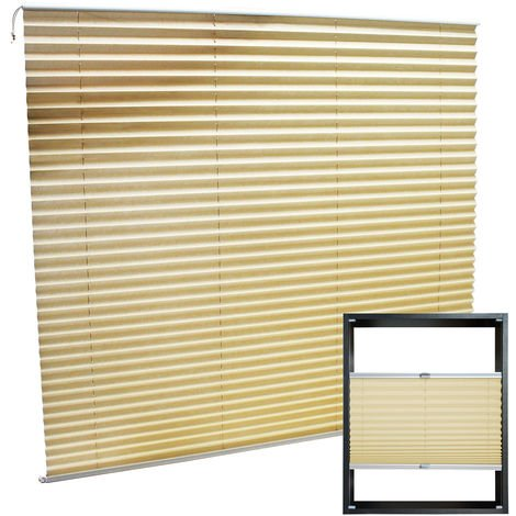 Modern cream-coloured Pleated Blinds 100x100cm Plissé Drop Blinds Window Blinds Temporary Blinds