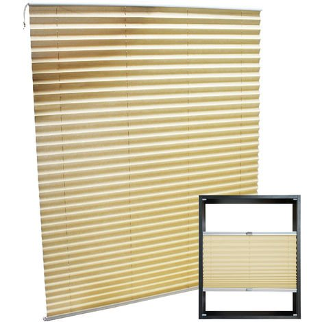 Modern cream-coloured Pleated Blinds 100x150cm Plissé Drop Blinds Window Blinds Temporary Blinds