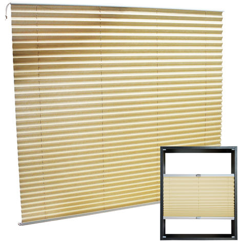 Modern cream-coloured Pleated Blinds 110x150cm Plissé Drop Blinds Window Blinds Temporary Blinds