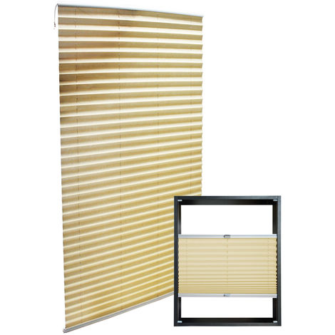 Modern cream-coloured Pleated Blinds 80x200cm Plissé Drop Blinds Window Blinds Temporary Blinds