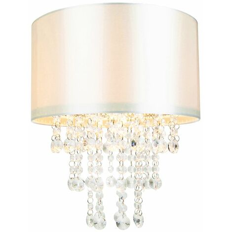 Modern Cream Satin Fabric Pendant Light Shade with Transparent Acrylic Droplets by Happy Homewares