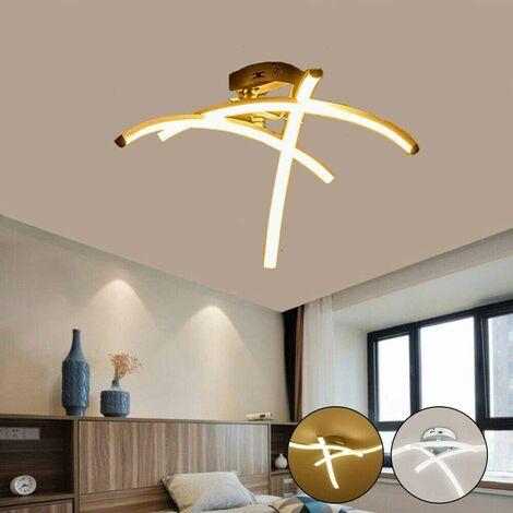 Modern Creative Chandelier Modern LED Ceiling Light Curved with 3 PCS Wave Shape Light Heads For Living Room Bedroom Dining Room (3 Lights Cold White)