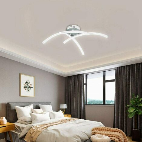 Modern Creative Chandelier Modern LED Ceiling Light Curved with 3 PCS Wave Shape Light Heads For Living Room Bedroom Dining Room (3 Lights Warm White)