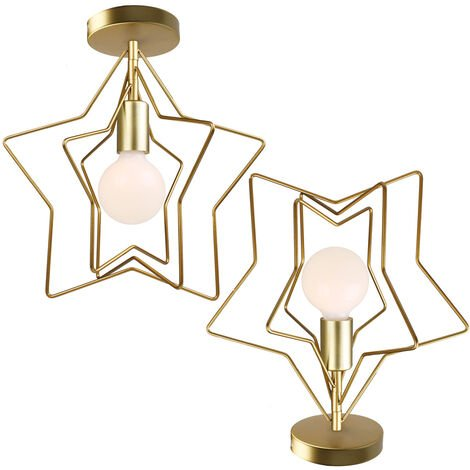 Modern Creative Rotatable Wall Light Stars Shape Chandelier Postmodern Nordic Ceiling Light for Office Bar Living room Cafe Gold(2 pack)
