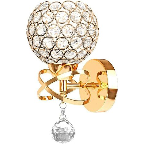 Modern Crystal Wall Light Style Crystal Wall Lamp Nordic Wall Sconce for Bedroom Aisle Living Room Wall Light Holder E14 Socket,Gold