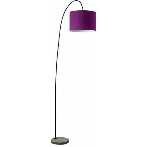 Modern Curva Designer Metal & Cement Floor Lamp with a Cotton Light Shade