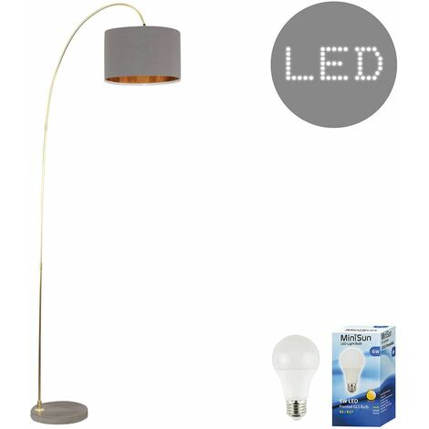 Modern Curva Designer Metal & Cement Floor Lamp with a Cotton Shade - 6w LED GLS Bulb