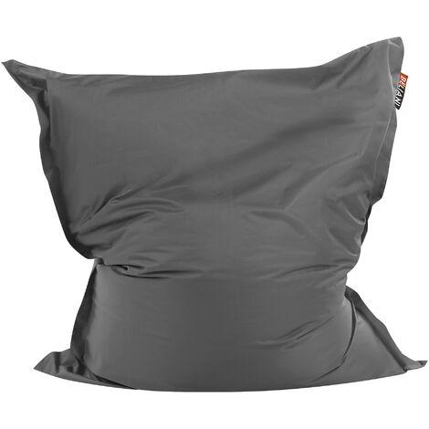 Modern Dark Grey Bean Bag Large Polyester Cover Zipper Living Room Bedroom