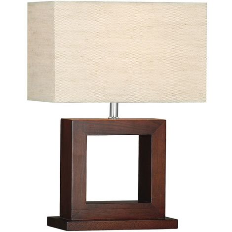 Modern Dark Wood Square Table Lamp Complete with Shade - Window