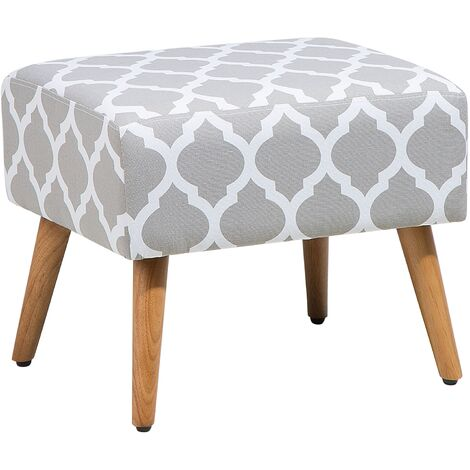 Modern Decorative Fabric Upholstered Footstool Ottoman Grey with White Manteo