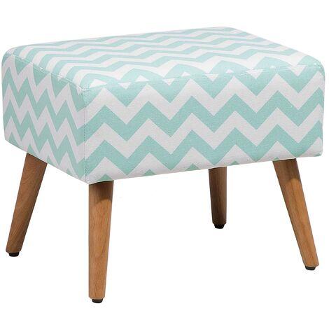 Modern Decorative Fabric Upholstered Footstool Ottoman Mint Grey Manteo