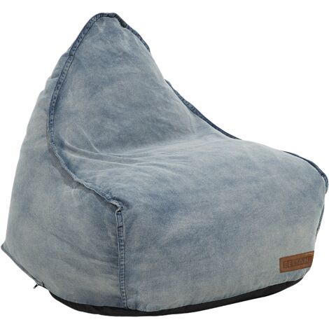Modern Denim Bean Bag Chair Pouf Lounger EPS Bean Filling Blue Drop