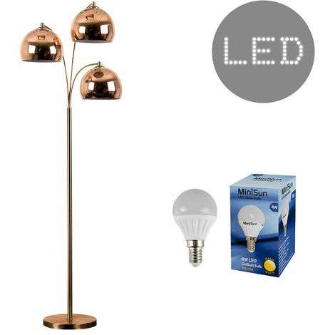 Modern Designer 3 Way Floor Lamp With Dome Shades + 4W LED Golfball Bulbs