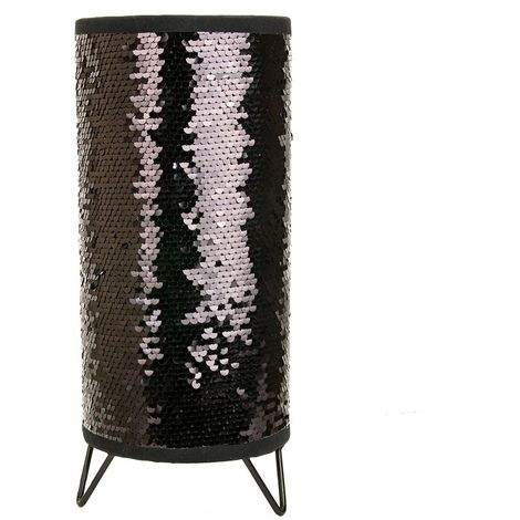 Modern Designer Black and Silver Shiny Sequin Table Lamp with Tripod Metal Feet by Happy Homewares